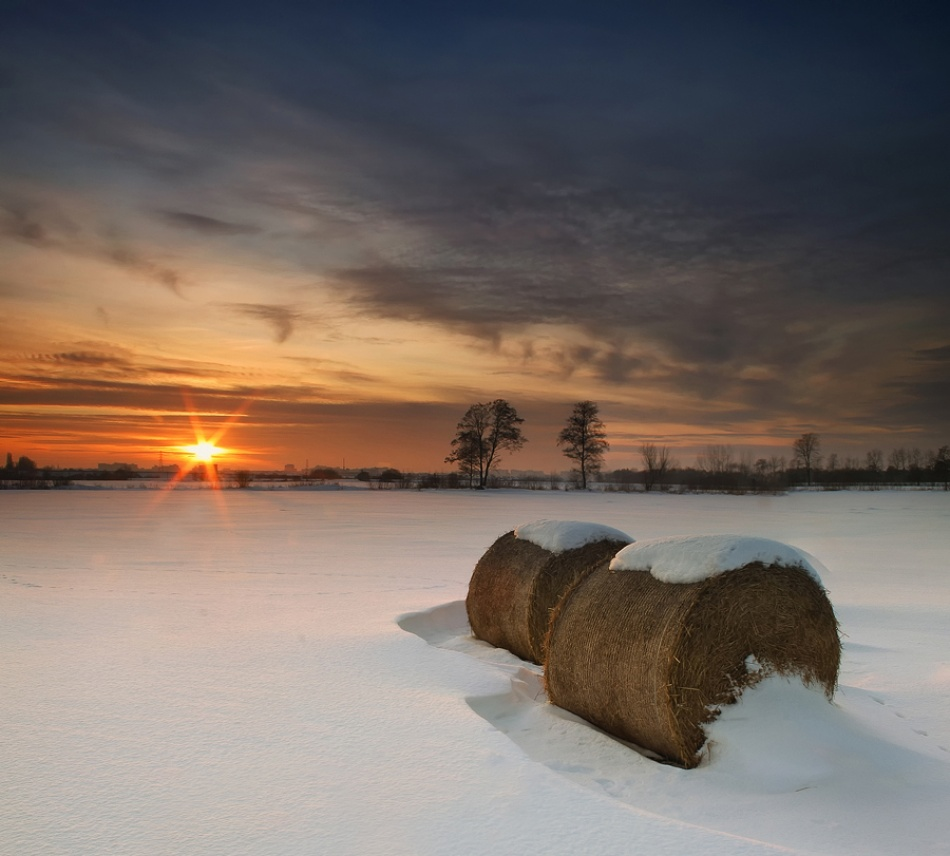A piece of fine art art photography titled Winter Sunset by Pawel Uchorczak