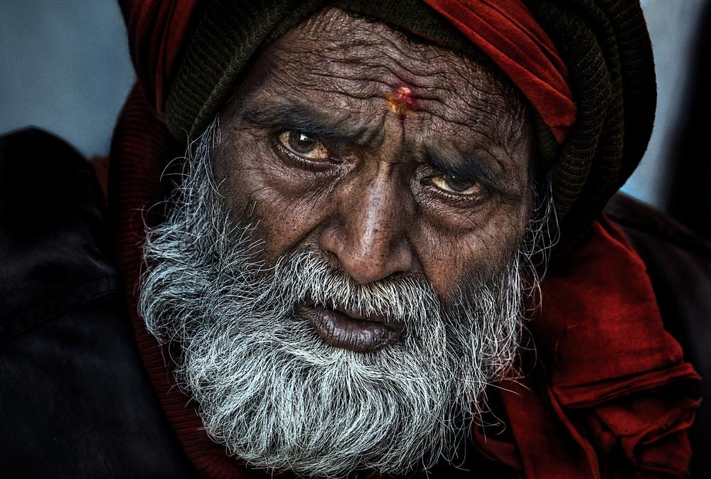 A piece of fine art art photography titled Waiting for a Free Eye Check-up and Screening - Netra Kumbh - Prayagraj-India by Joxe Inazio Kuesta Garmendia