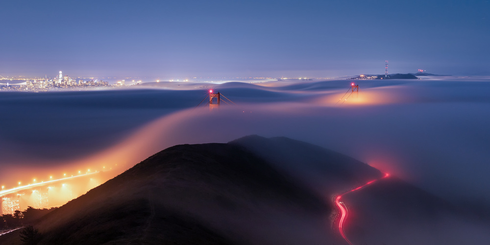 View this piece of fine art photography titled golden gate bridge in fog by Mohammed Shamaa