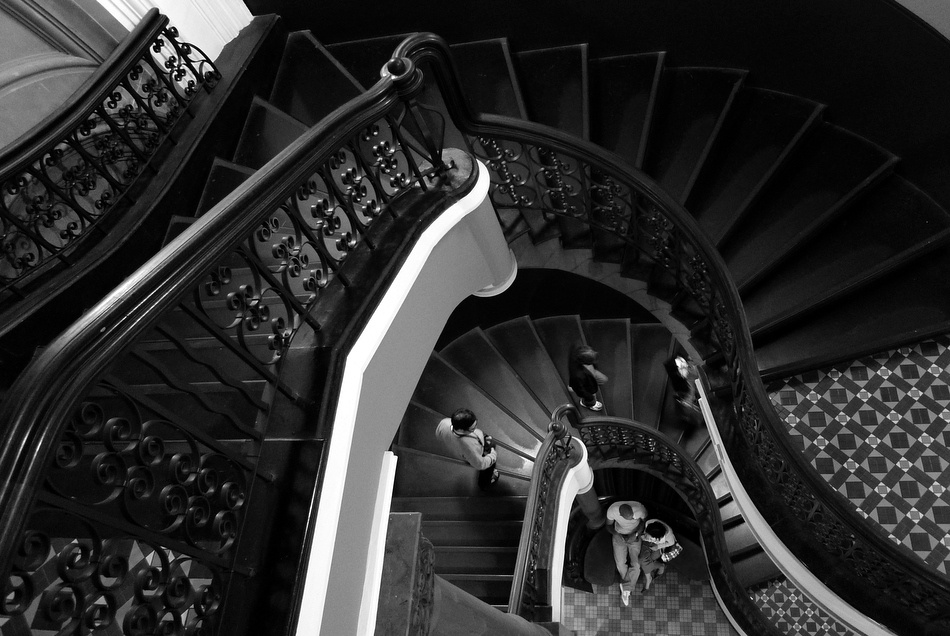 A piece of fine art art photography titled Down the Stairs by Jeff Tao