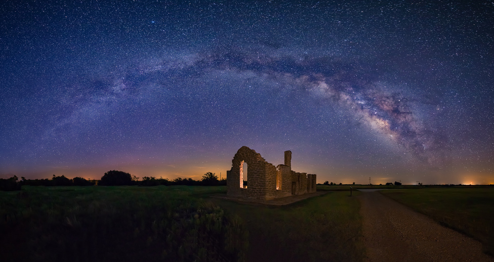 A piece of fine art art photography titled Fort Griffin Under the Night Sky by Michael Zheng