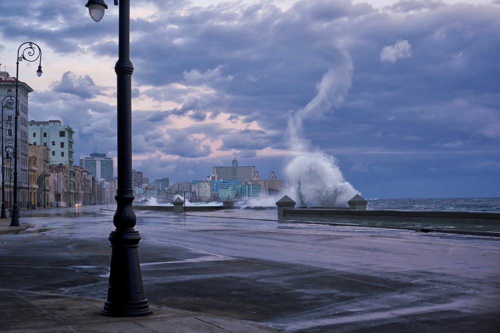 A piece of fine art art photography titled Stormy Malecon by mike kreiten