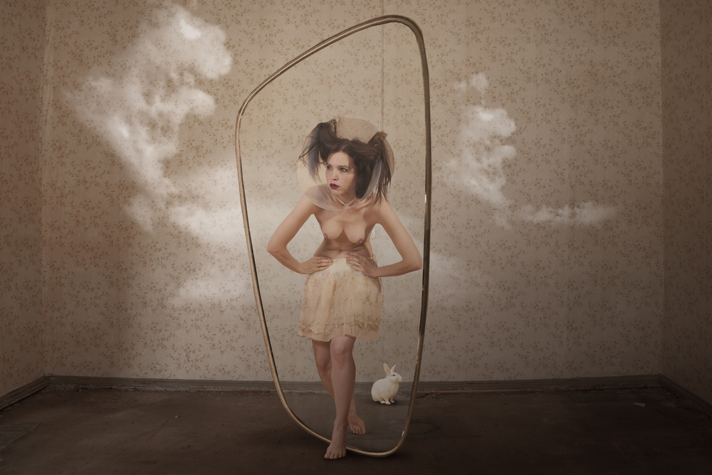 View this piece of fine art photography titled The girl behind the mirror II by Christine von Diepenbroek