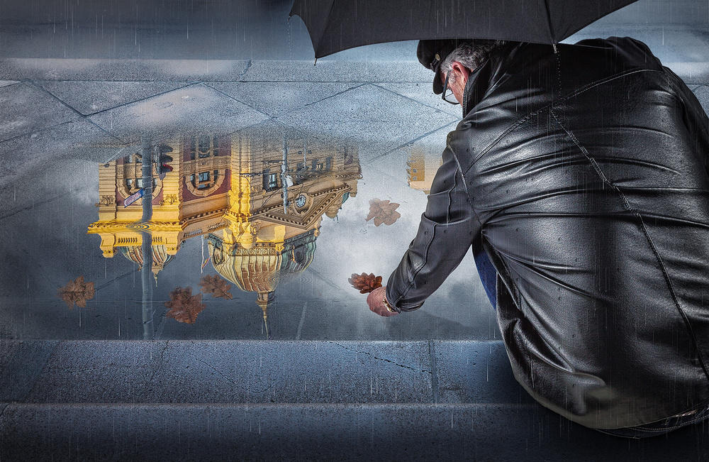 A piece of fine art art photography titled Rainy Day In Melbourne 3 by Adrian Donoghue