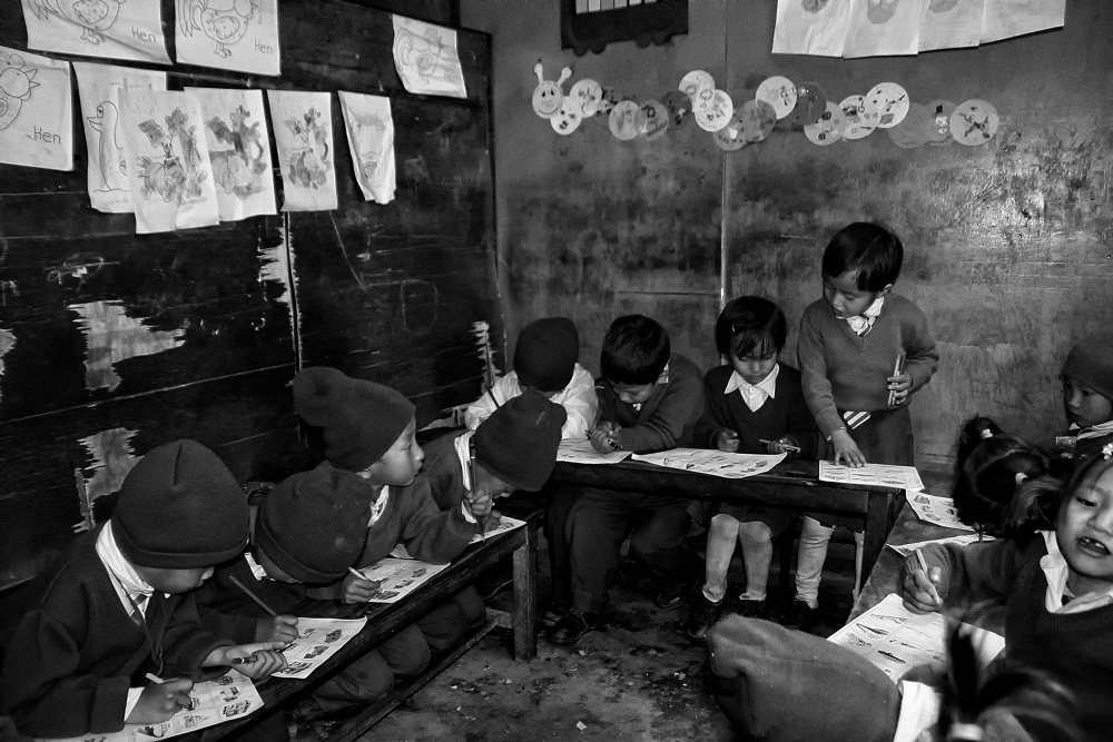 A piece of fine art art photography titled Series : Revisiting My Children of Nepal (The Classroom of the Little Ones) by Yvette Depaepe