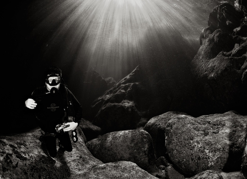 Sun Rays On the Diver
