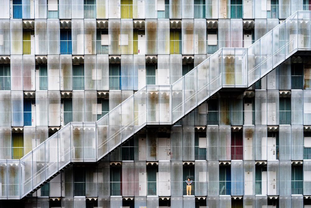 A piece of fine art art photography titled Geometric Apartment by Tetsuya Hashimoto