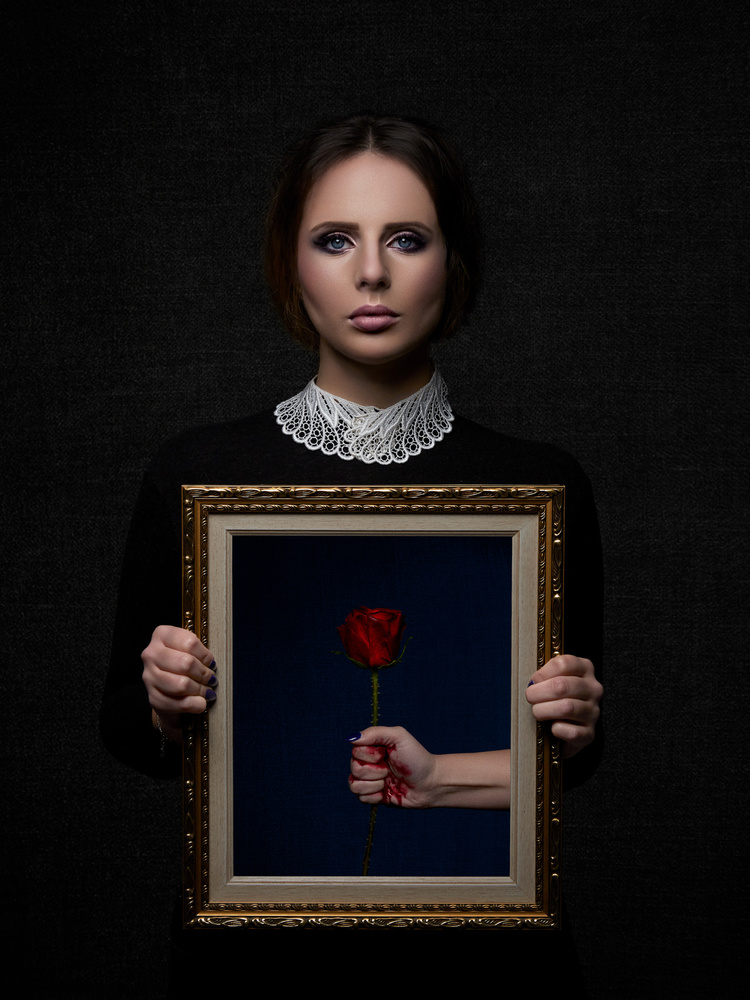 A piece of fine art art photography titled Bloody Rose by Samuel Zlatarev