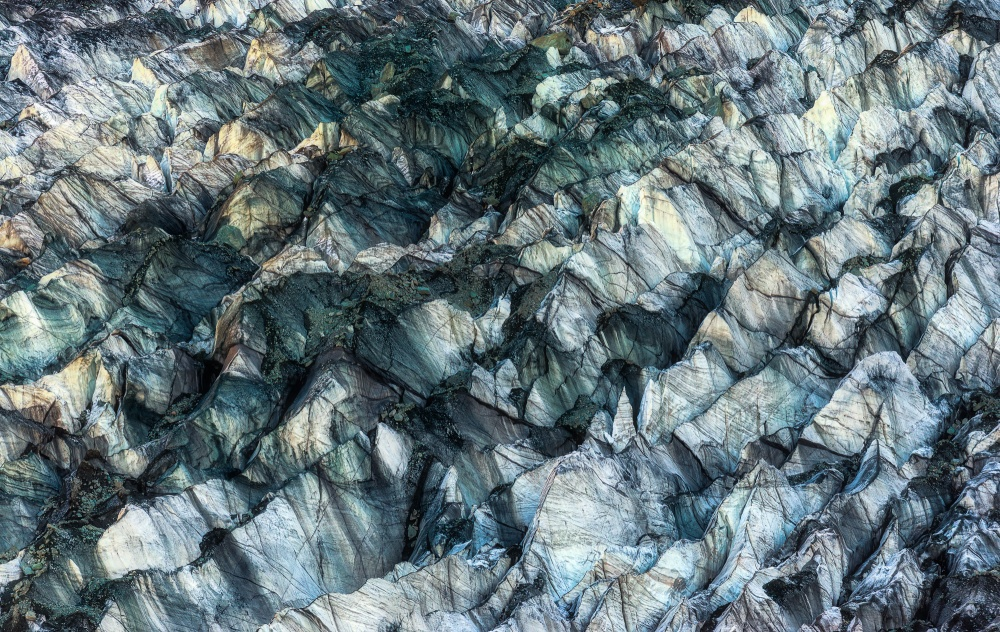 A piece of fine art art photography titled ICE Texture In Hopper Glacier by Kowit.Lee