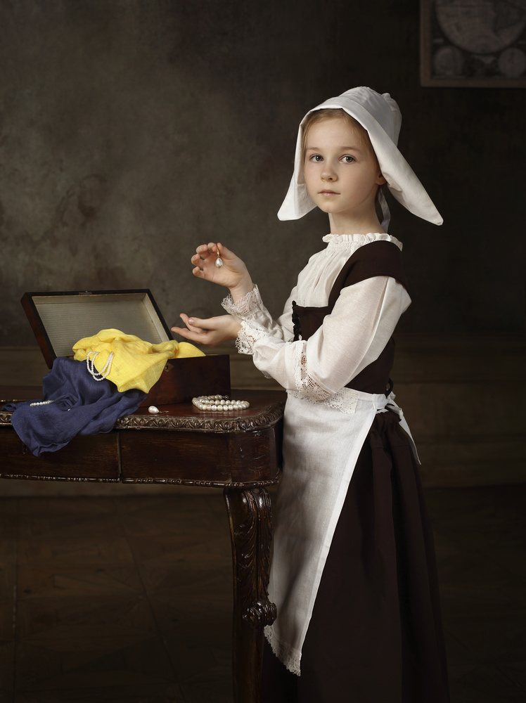 A piece of fine art art photography titled Vermeer's Daughter or Girl With a Pearl Earring by Victoria Ivanova