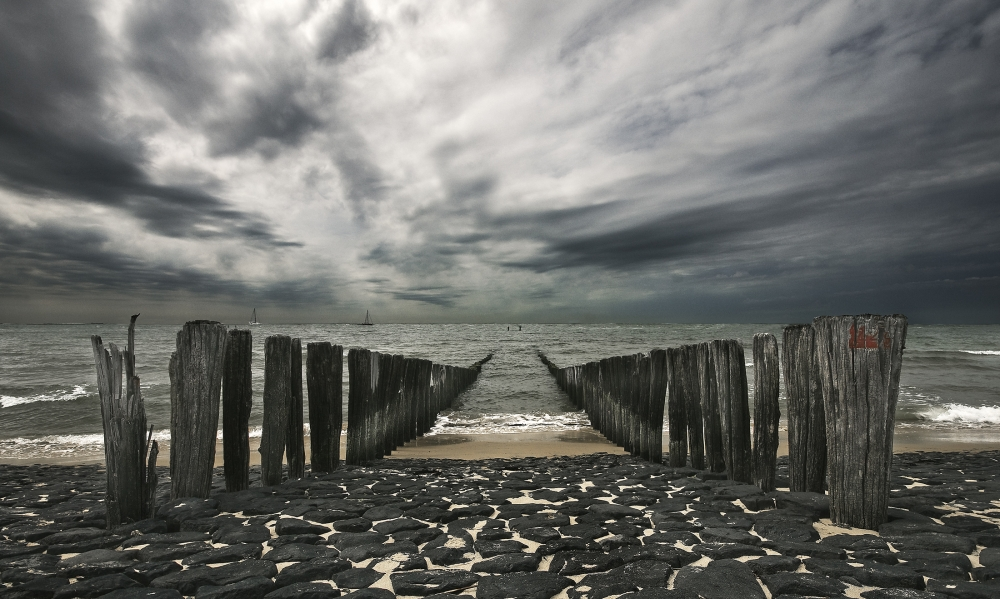 A piece of fine art art photography titled Sea Defense by Leon