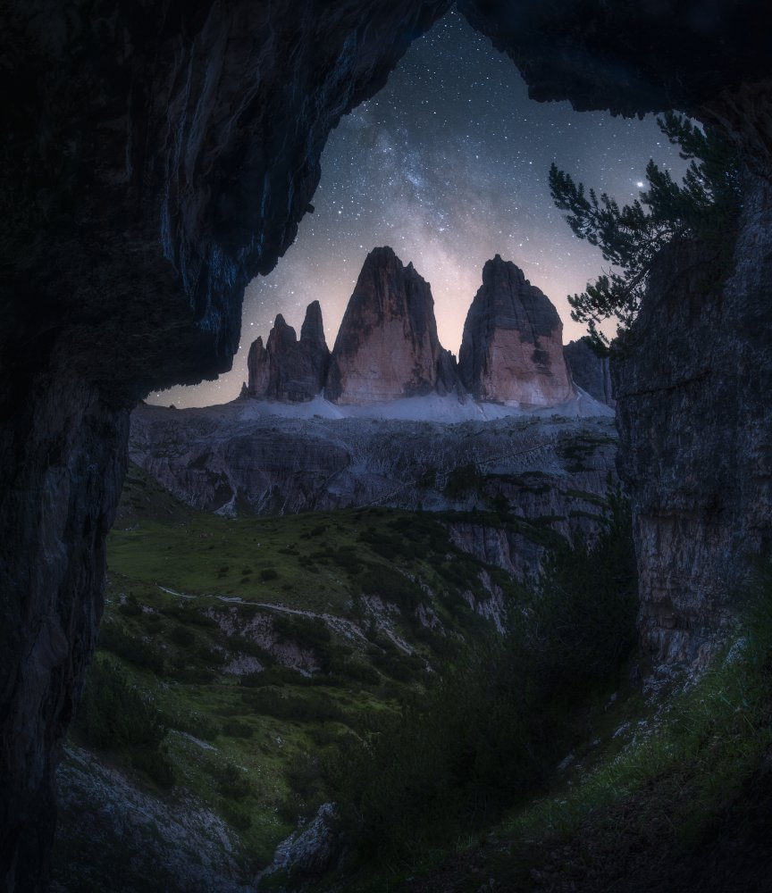 A piece of fine art art photography titled Watching the Stars In the Cave of Tre Cime by Yeh