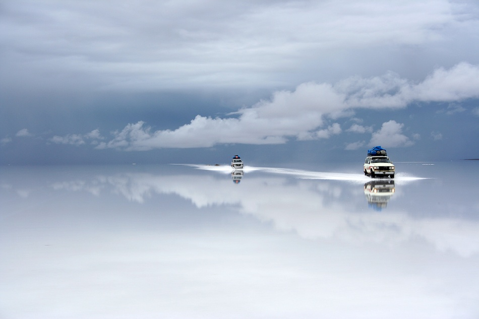 A piece of fine art art photography titled Bolivia Salt Desert After the Rain by Guy Nesher