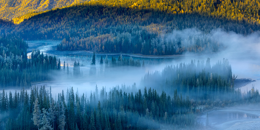 A piece of fine art art photography titled Morning Fog In the Magic Bay by Hua Zhu