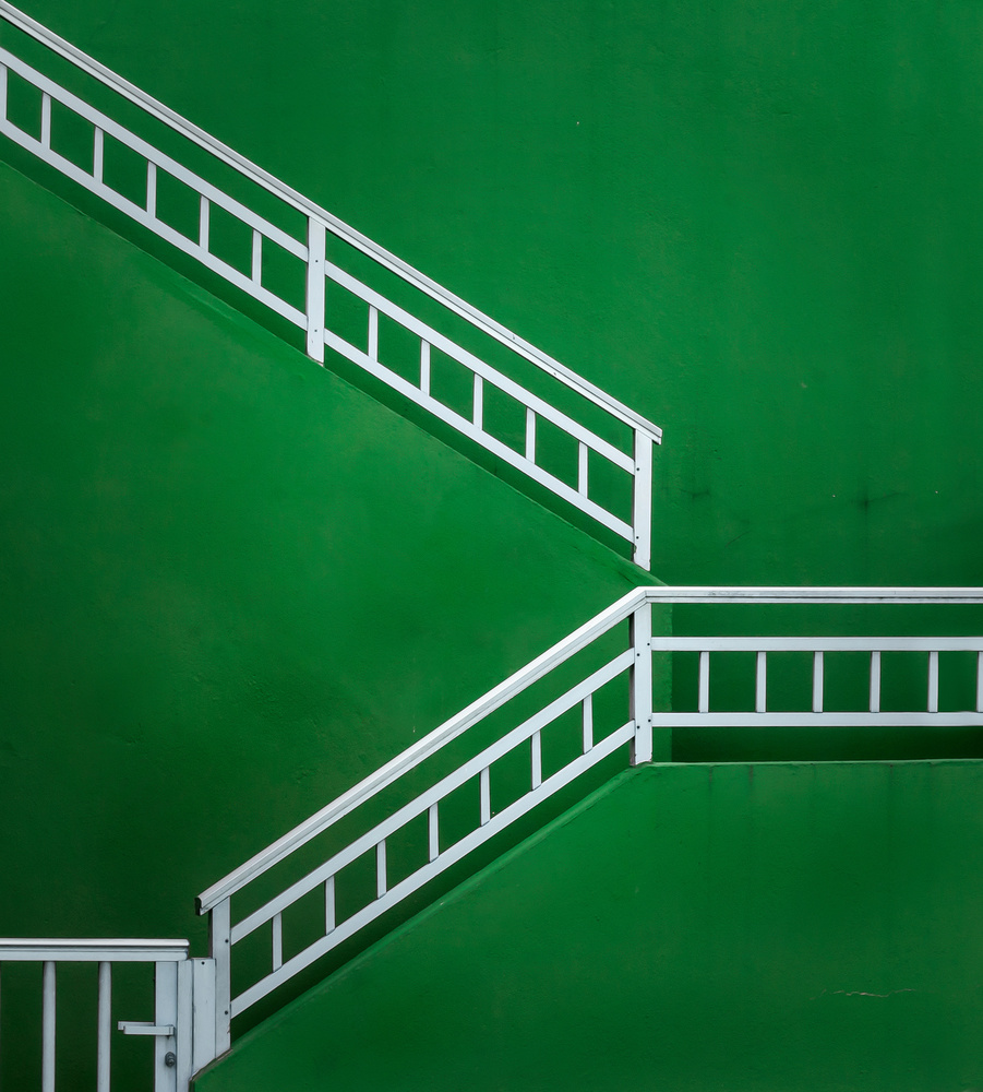 A piece of fine art art photography titled Green Staircase by Alfonso Novillo