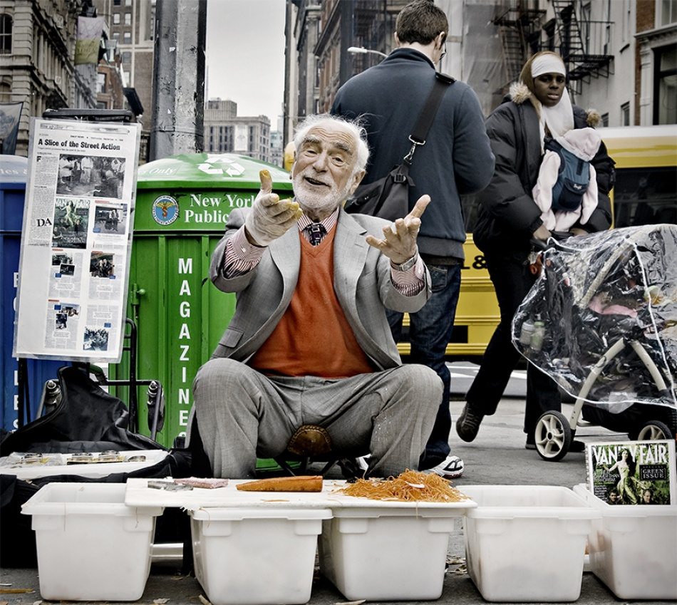 A piece of fine art art photography titled Rest In Peace-The Pitchman (Joseph Ades, Union Square Market) by Steve Hill