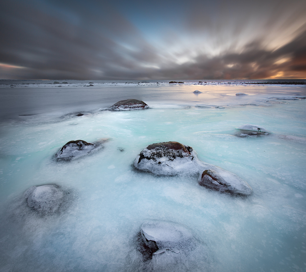 A piece of fine art art photography titled Frozen Coastline by Christian Lindsten