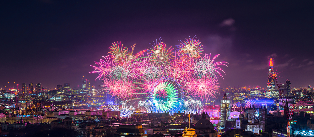 A piece of fine art art photography titled Happy New Year London by Stewart Marsden