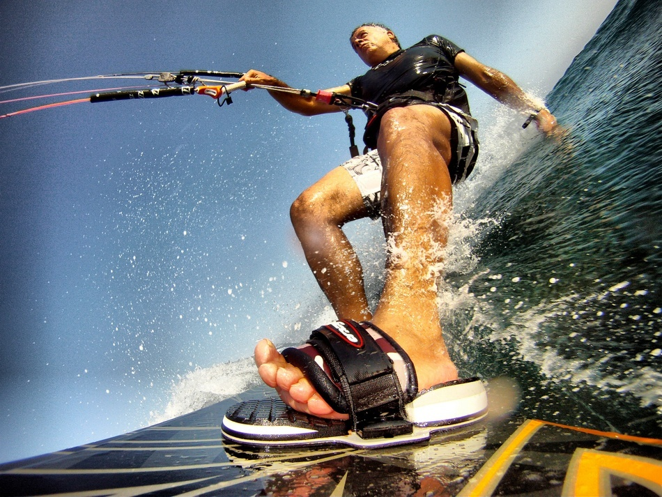 A piece of fine art art photography titled Kiteurfing - a Board\'s Perspective by Alexis