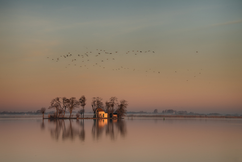 A piece of fine art art photography titled  Sunrise at the Lake by Piet Haaksma