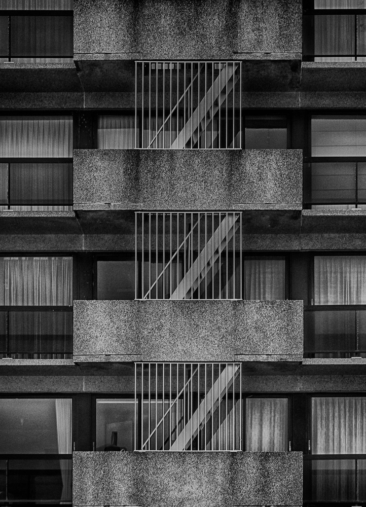 A piece of fine art art photography titled Outside Staircase by Jef Flour