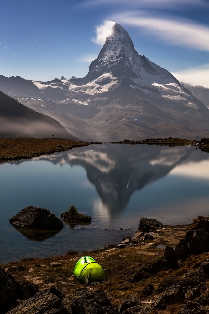 A piece of fine art art photography titled Matterhorn Moonlight, Stellisee, Switzerland by Frank Peters