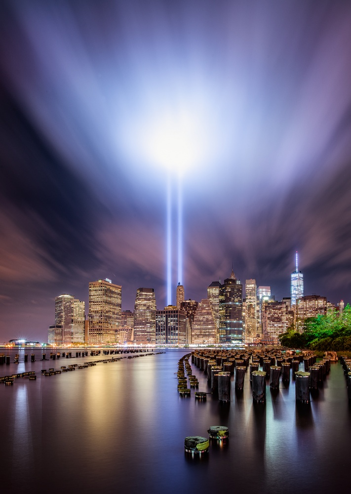 A piece of fine art art photography titled 9-11 Tribute Lights by INIGO CIA