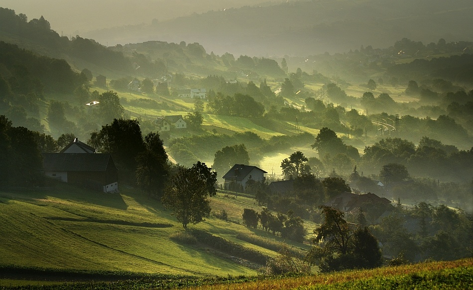 A piece of fine art art photography titled Morning Valley by Janusz Wanczyk