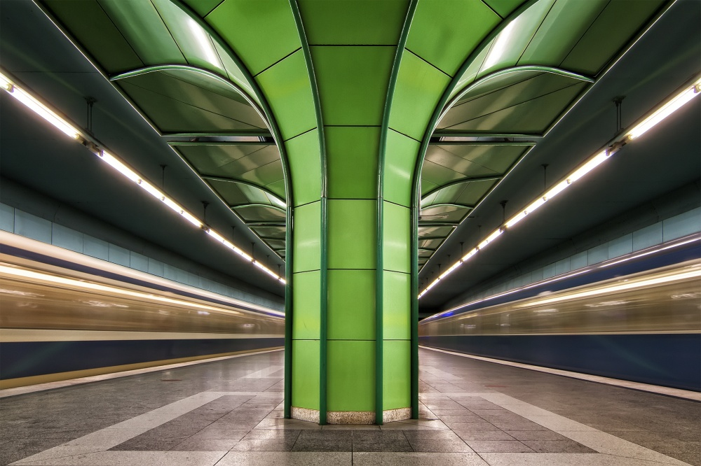 A piece of fine art art photography titled Munich Subway In Green by dariosastre