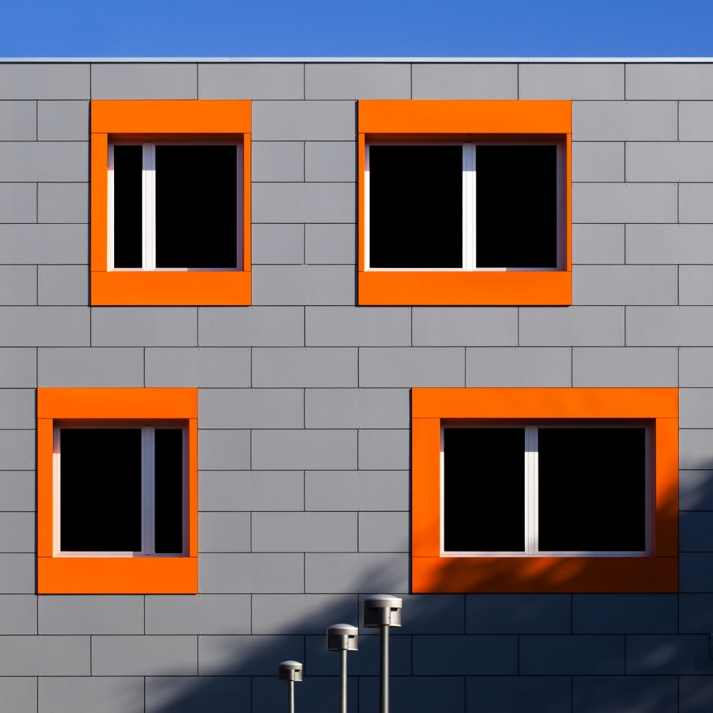 A piece of fine art art photography titled Composition of Gray, Orange and Blue by Gianluca Morello