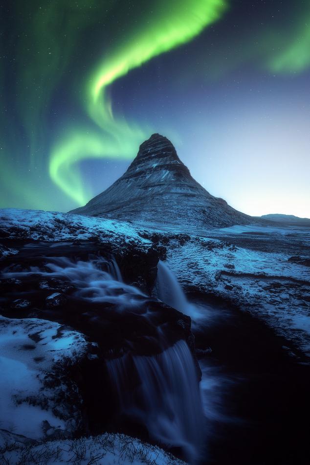 A piece of fine art art photography titled Kirkjufell Aurora by Daniel Fleischhacker