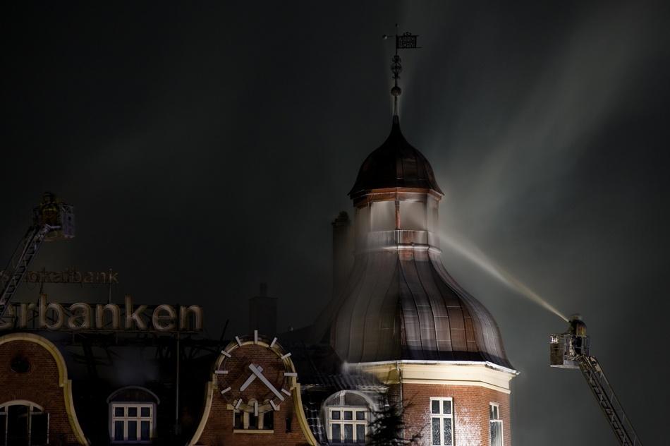 A piece of fine art art photography titled Roof Fire by Henrik Gurskov