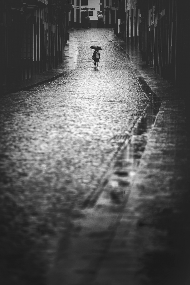 A piece of fine art art photography titled Loneliness Under Rain by Dominic Dähncke