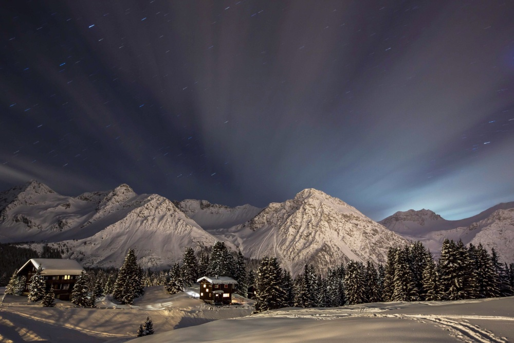 A piece of fine art art photography titled Winterevening In the Mountains by Ralf Eisenhut