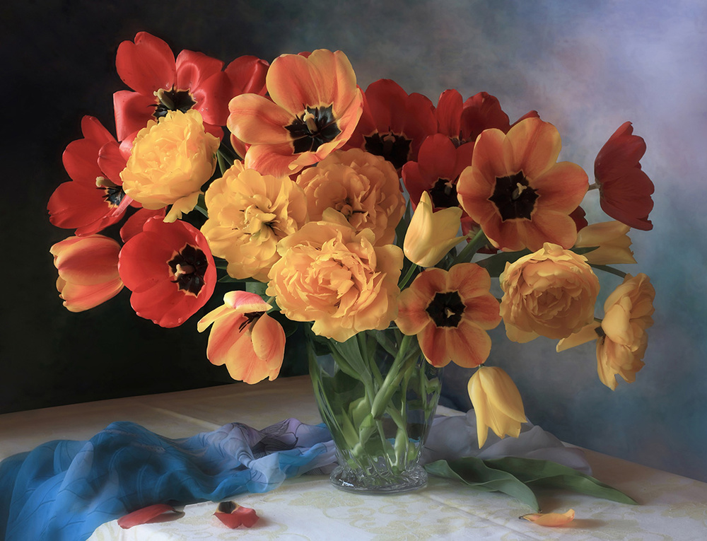 Still life with a bouquet of tulips