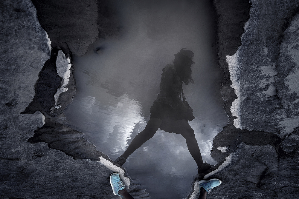 A piece of fine art art photography titled Blue Walker by Ekkachai Khemkum