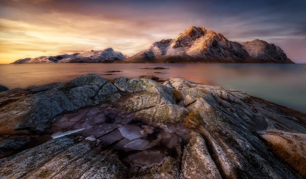 A piece of fine art art photography titled Frozen Sunrise by Javier de la Torre