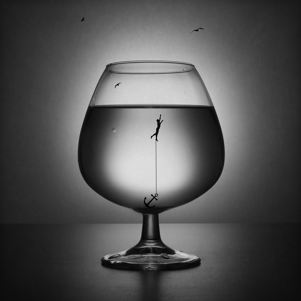 A piece of fine art art photography titled Alcoholism the Drowning by Victoria Ivanova