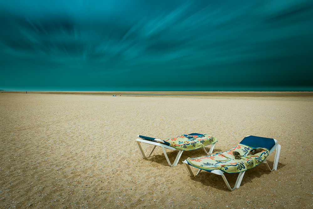 A piece of fine art art photography titled Sun Beds by Bernardine de Laat