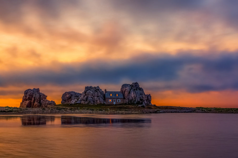 A piece of fine art art photography titled Sunset at Plougrescant by Alessandro Traverso