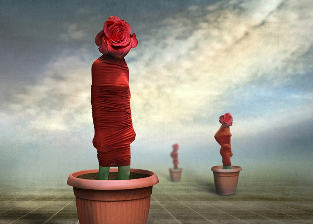 A piece of fine art art photography titled Wrapped In Red With Love by Ben Goossens