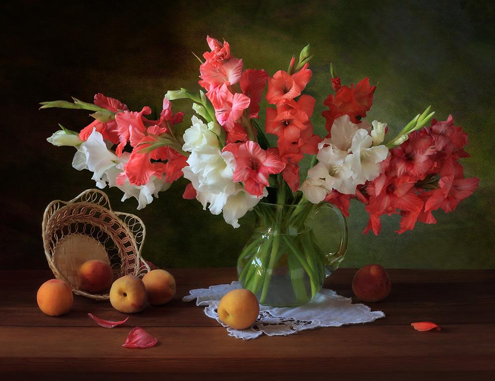 A piece of fine art art photography titled Still Life With Gladioli and Peaches by Tatyana Skorokhod (Татьяна Скороход)
