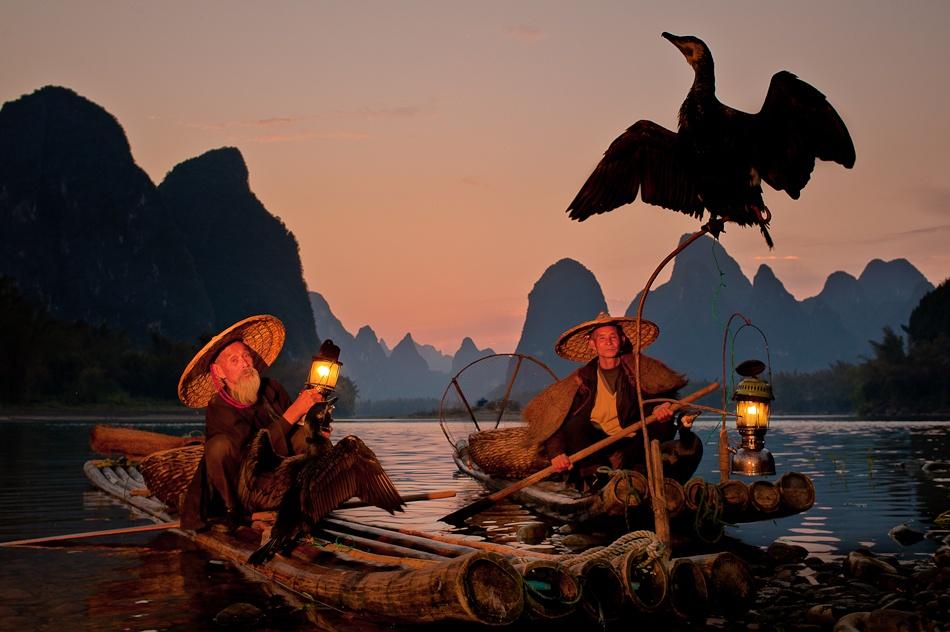 A piece of fine art art photography titled \\\Cormorant Fishermen at Dusk\\\ by Dan Ballard Photography