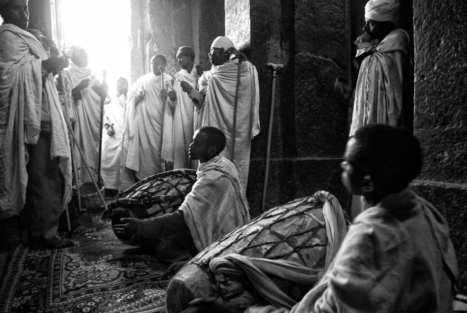 A piece of fine art art photography titled Music In the Church of Lalibela by maurizio blasetti