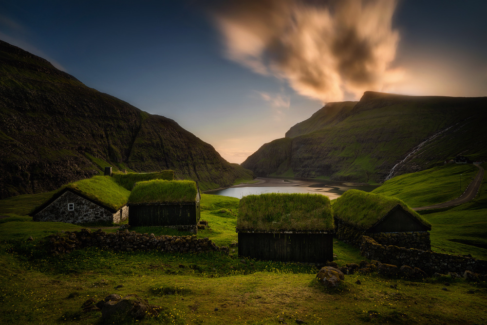 A piece of fine art art photography titled Saksun Village by Wojciech Kruczynski