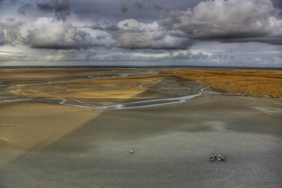 A piece of fine art art photography titled Mont-Saint-Michel Beach by Esra Belgin
