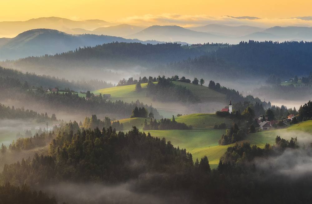 A piece of fine art art photography titled September Morning by Ales Komovec