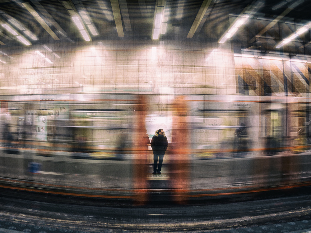 A piece of fine art art photography titled Subway Blues by Thomas Vanoost
