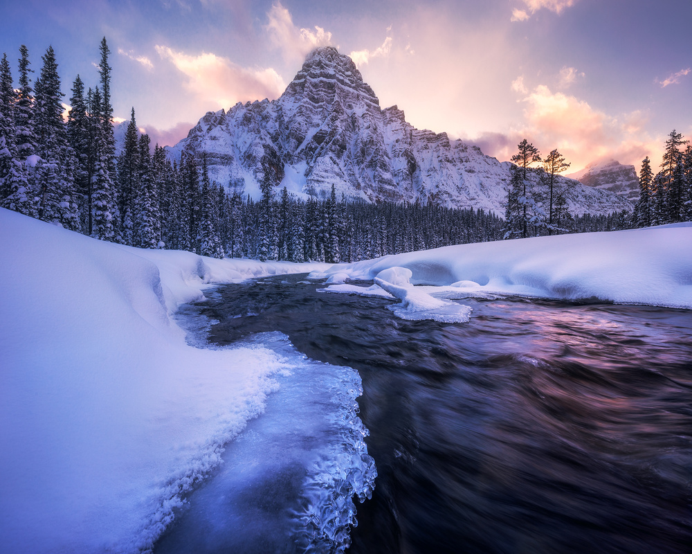 View this piece of fine art photography titled A Magical Sunset in the Rockies by Daniele Atzori