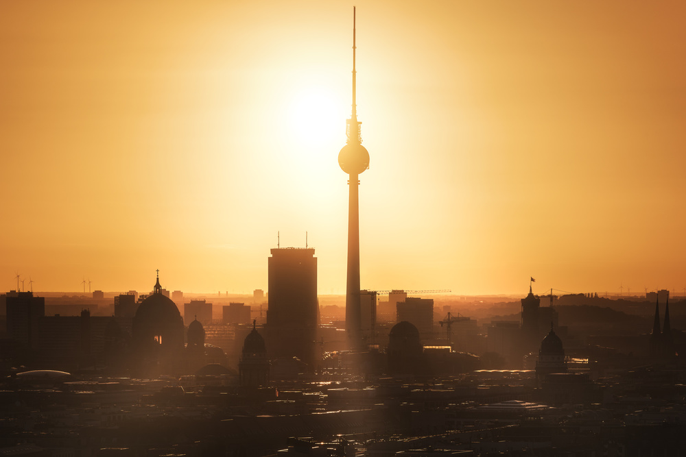 A piece of fine art art photography titled Berlin - Skyline Sunrise by Jean Claude Castor